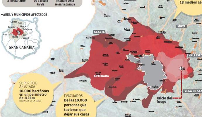 Mapa Municipios Gran Canaria.Mapa Interactivo Del Incendio En Los Diez Municipios De Gran