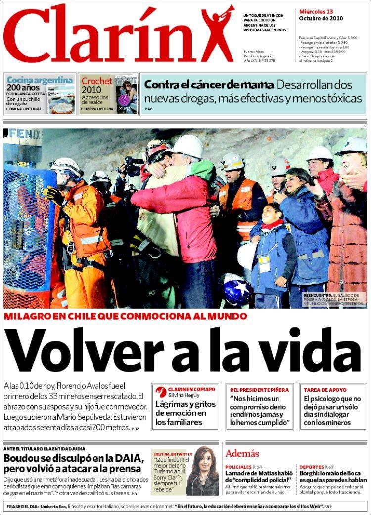 StoryMapJS: Portadas del Mundo - Rescate 33 mineros (Chile)